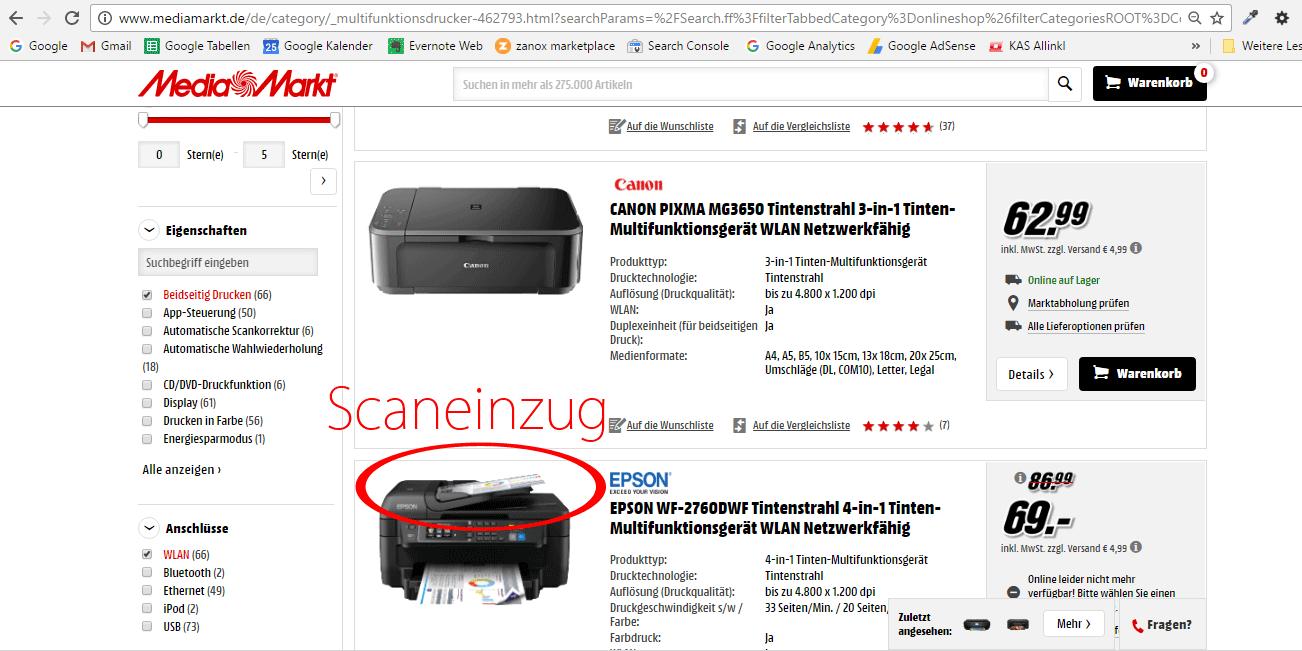 4. Mediamarkt Drucker mit Scaneinzug